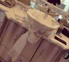 """So cool! Marble skull sink! This makes me think of that 80s movies """"The Goonies"""""""