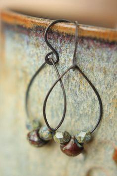 Earthy Copper Teardrop Hoop Earrings by Sparrowtaledesign on Etsy