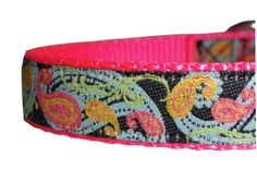Blue and Pink Swirl Adjustable Dog Collar $14.50 USD