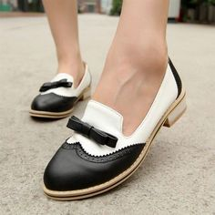 Women'S Retro Mary Janes Brogue Flat Oxford Bowknot Casual Pumps Wing Tip Shoes