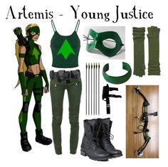 A fashion look from October 2016 featuring cami top, cartoon costumes and balmain jeans. Artemis Young Justice, Dc Comics, Justice Clothing, Casual Cosplay, Movie Characters, Justice League, Balmain, Police, Moda Femenina