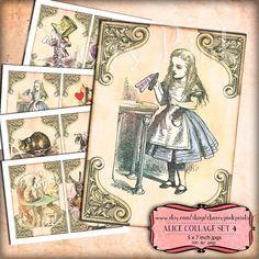 ALICE in WONDERLAND Set 4, Alice decoration party printable digital collage sheet for your wonderland party