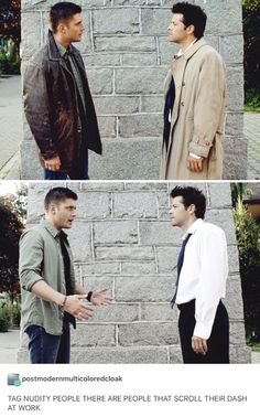 OH MY GOD DEAN AND CAS ARE PRACTICALLY NAKED ONLY LIKE THREE LAYERS HOLY MOTHER OF THINGS