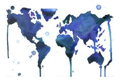 A Jewel Tone World Map! #watercolor #map by Jessica Durrant