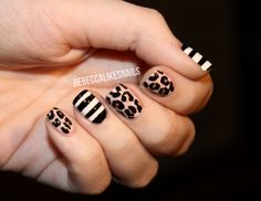 Leopard and striped mani