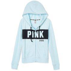PINK Perfect Full Zip Hoodie ($46) ❤ liked on Polyvore featuring tops, hoodies, hooded sweatshirt, slim fit hoodie, pink jersey, lightweight full zip hoodie and pink hoodie