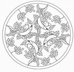 Mandalas Para Pintar: mandala con gorriones
