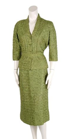 A green two-piece French ribbon suit, 1940's.  Why do so many vintage clothes age to this weird yellow-green spectrum?