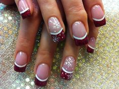 50 Lovely Nail Art - Dark red with snow flakes French tip, good for winter!