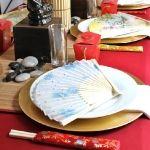 Get chop sticks, paper fans and bamboo mat.
