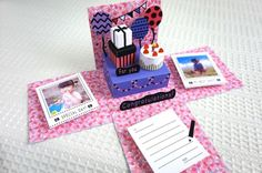 【誕生日などのお祝いに】*飛び出す立体メッセージ*PARTYな祝い箱・ピンク|カード・レター|紙あそび製作所ペパル|ハンドメイド通販・販売のCreema