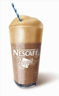 """Greek chilled instant coffee """"Frappé"""" - Accidentally invented in 1957 in Thessaloniki and has become a hallmark of the post-war outdoor Greek coffee culture Iced Coffee, Coffee Drinks, Coffee Time, Coffee Cups, Coffee Recipes, Wine Recipes, Frappe Recipe, Coffee Culture, Nescafe"""
