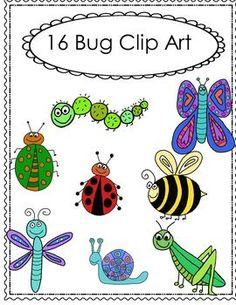 This Bug Clip Art Set includes: 16 Bug images in all. 8 Color and it's equal 8 Black and transparent. 1. Beetle  2. Butterfly  3. Caterpillar 4. Grasshopper  5. LadyBug  6. Bee  7. Dragon Fly  8. Snail You may use the images for personal or commercial use and freebies on Teachers Pay Teachers or