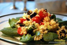 Couscous Salad | James & Everett Greek Couscous Salad, Greek Salad, Healthy Salads, Healthy Eating, Healthy Recipes, Vegetarian Recipes, Healthy Food, Grilled Cheese Recipes, Greek Cooking