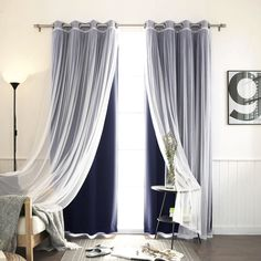 Aurora Home Mix & Match Blackout Tulle Lace Bronze Grommet 4 Piece Curtain Panel Set x 63 Navy) - Blackout Curtains - Ideas of Blackout Curtains White Sheer Curtains, Tulle Curtains, Sheer Curtain Panels, Grommet Curtains, Window Curtains, Navy Curtains Bedroom, Diy Blackout Curtains, Layered Curtains, Curtains With Sheers