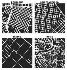OSMnx: Figure-ground diagrams of one square mile of Portland, San Francisco, Irvine, and Rome shows the street network, urban form, and urban design in these cities