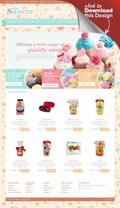 Sweets OpenCart Template E-commerce Templates, OpenCart Templates, Food & Restaurant, Food & Drink Templates, Sweet Shop Templates
