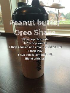 Peanut butter Oreo shakeology - delicious!!- 21 day fix