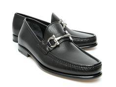 Salvatore Ferragamo men's loafers in black leather - Italian Boutique €324