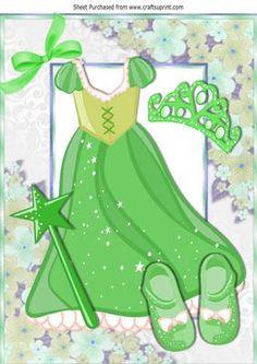 Pretty Green sparkle princess dress with tiara A4 on Craftsuprint - Add To Basket!
