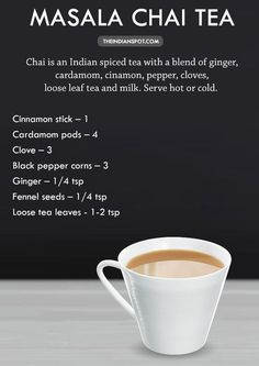 "Chai tea is better known as masala chai (""masala"" means spices). And while there is no standard recipe or preparation method, it typically involves brewing a strong loose black tea with warming spices like cardamom, [. Masala Chai, Chai Recipe, Masala Recipe, Yummy Drinks, Healthy Drinks, Tea Latte, Coffee Recipes, Hot Tea Recipes, Tea Blends"