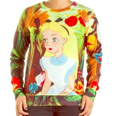 Disney Alice in Wonderland Sublimated Pullover I can't say enough about how freaking adorable this tee is. This is a must for any Alice in Wonderland or Disney fan! Can be worn as a pullover or as a long sleeve tee. Gently used. Disney Tops Tees - Long Sleeve
