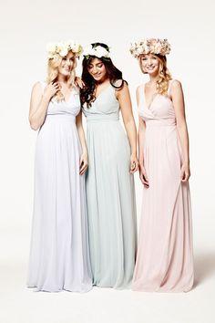 Pastel mix and match bridesmaid dresses
