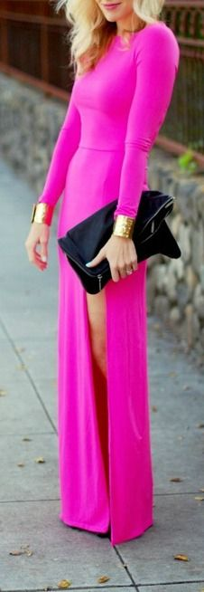 Bright Pink Long Sleeved Maxi Dress with Split and matching Gold Wrist Cuffs on each arm!