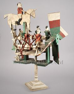Antique Whirligig, Axe Men and Overseer, Circa 1930, angle view