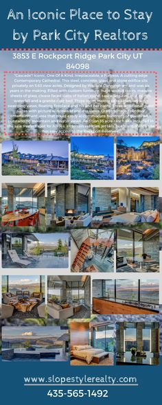 Park City Ut, Custom Furniture, Concrete, Contemporary, Mansions, House Styles, Places, Water, Pictures