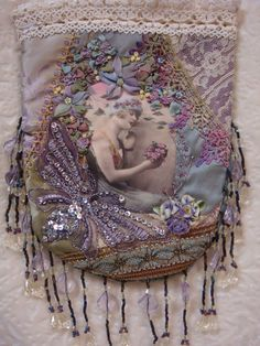 I ❤ crazy quilting  ribbon embroidery . . . beautiful CQ pouch. Love the butterfly and color scheme! ~By Pat Winter