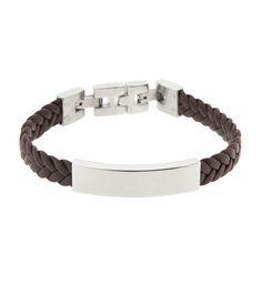 Bracelet cuir tressé marron et plaque acier pour homme