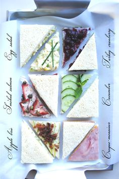 Wonderful assortment of Tea Sandwiches - love the pictures
