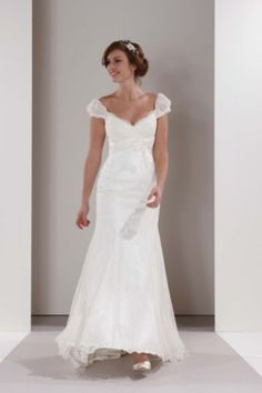 Petite Destination Collection Bridal Gowns Adorning Puffs Sleeves