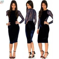 Cheap vest life, Buy Quality vest girl directly from China vest fox Suppliers: new 2015 Summer Party Pencil Dress Womens Sexy Evening Blue Lace Velvet Midi Bodycon Dress Women's Clothings 28 Bodycon Dresses Uk, Bodycon Dress Parties, Velour Dresses, Long Sleeve Midi Dress, Lace Midi Dress, Lace Dresses, Unique Dresses, Work Party Dress, Beautiful Black Dresses