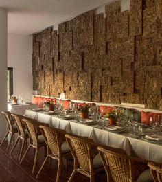 "Jose Carlos Cruz completes ""world's first cork-clad hotel"" Commercial Interior Design, Commercial Interiors, Evora Portugal, Cork Hotels, Hotels Portugal, Cork Flooring, Tile Murals, Wall Treatments, Restaurant Bar"