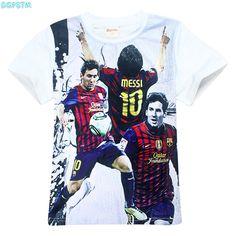 Boy Barcelona t shirt Children clothing short sleeve tees teen age baby clothing summer kids tops Football T-shirt Football star #Affiliate