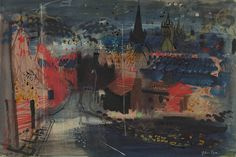 'Sheffield' by John Piper (mixed media) Abstract Landscape, Landscape Paintings, Landscape Illustration, Illustration Art, John Piper Artist, Building Art, Urban Art, Painting Inspiration, Watercolor Art