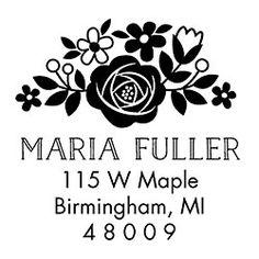 Floral Address Custom Stamp - PS design