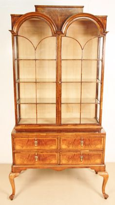 Queen Anne Fine Quality Burr Walnut Display Cabinet Glass Glazed Circa 1910