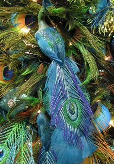 Peacock Christmas Decorations, Peacock Christmas Tree, Peacock Ornaments, Elegant Christmas Trees, Peacock Decor, Peacock Colors, Peacock Art, Christmas Tree Themes, Blue Christmas