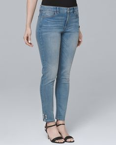 503acd3e07 Women s Curvy-Fit Mid-Rise Faux Perl-Trim Skinny Crop Jeans by White House  Black Market