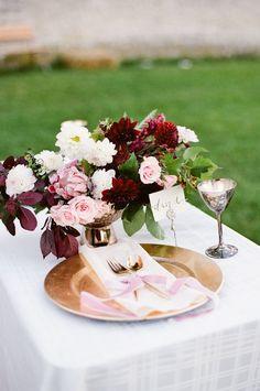 Blush and Burgundy Fall Wedding Table