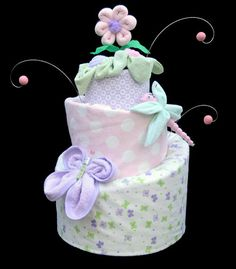 Baby Girl Topsy Turvy Diaper Cake, Pastel Flowers, Dragonflies & Butterflies, Baby Shower Decoration, Baby Girl Gift Basket, Made to Order