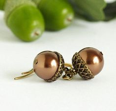 Acorn Earrings Brass and Bronze Pearls For the par JacarandaDesigns