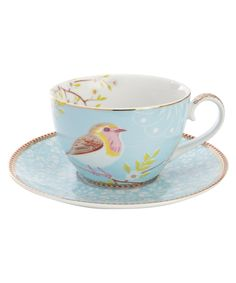 Blue Bird Print Cup and Saucer