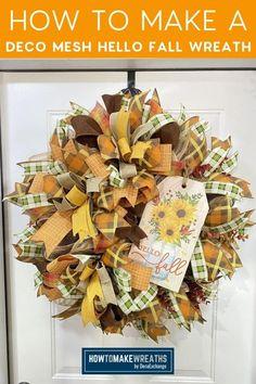 Fall Mesh Wreaths, Diy Fall Wreath, Make Your Own Wreath, How To Make Wreaths, Wreath Making, Mesh Wreath Tutorial, Pumpkin Wreath, Frame Wreath, Hello Autumn