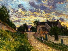 A Path in Louveciennes by Alfred Sisley. 1876. Beautiful sky!!
