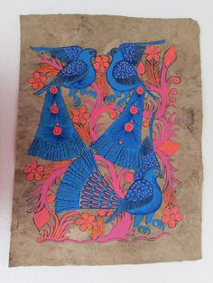 "AMATE BARK PAINTING mexican hanging  home decor  folk art 11"" X 15"""