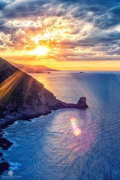 Cap Carbon at Sunset, Bejaia, Algeria, Nortth Africa. Ocean Photography, Landscape Photography, Nature Pictures, Cool Pictures, Beautiful World, Beautiful Places, Amazing Places, Voyager C'est Vivre, Red Sunset